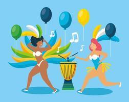 brasilianische Mädchen in Karnevalskostümen tanzen vektor