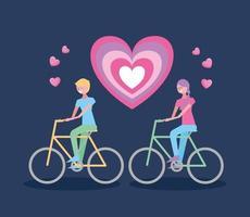 alla hjärtans dag firande med älskare på cyklar vektor