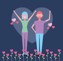 Alla hjärtans dag firande med älskare i en trädgård vektor