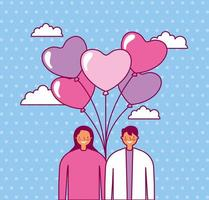 Alla hjärtans dag firande med par och ballonger helium vektor