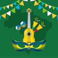 brasilianische Karnevalsfeier mit Musikinstrumenten vektor