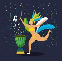 brasilianisches Mädchen in einem Karnevalskostüm tanzen vektor