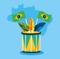 brasilianische Karnevalsfeier mit Trommel und Federn vektor