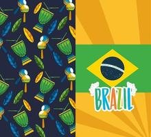 brasilianische Karnevalsfeier mit Flagge vektor