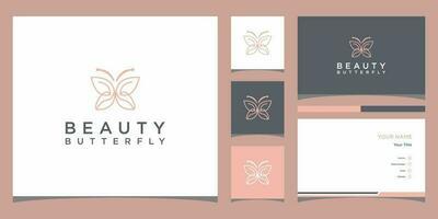 Butterly Logo Vorlagen und Visitenkarten Design Premium Vektor