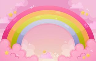 vacker regnbåge och moln bakgrund i lutning färg vektor