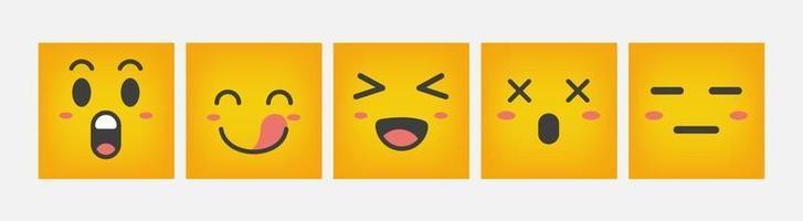 Emoticon Design Reaktionsquadrat gesetzt flach - Vektor