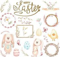 Aquarell-Satz von Illustrationen für Ostern oder Frühling auf Weiß vektor
