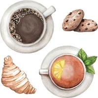 Aquarell eingestellt mit Tee und Kaffee, Kekse, Croissant Hand gezeichnet vektor