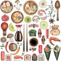 großes Aquarell eingestellt mit Sushi und asiatischem Essen auf weißem Hintergrund vektor
