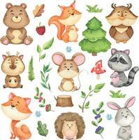 stor uppsättning skogsdjur och skogsdesignelement, akvarellsamling av vilda djur, barnillustration för utskrift