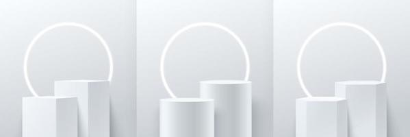Satz abstrakte Würfel runde und Sechseckanzeige für Produkt auf Website in modernem Design. Hintergrund-Rendering mit Podium und minimaler Textur-Wandszene, 3D-Rendering geometrische Form weiße graue Farbe.