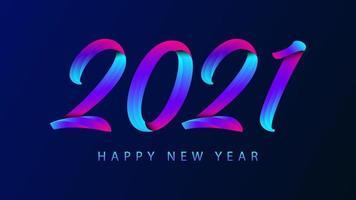 Frohes neues Jahr 2021 buntes Beschriftungsdesign für Grußkarten, Plakat, Fahne, Vektorillustration.