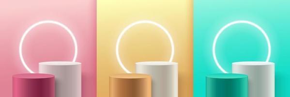 uppsättning abstrakt rund display för produkt på webbplatsen i modern design. pastellfärgad bakgrunds rendering med pall och minimal textur vägg scen, 3d-rendering geometrisk form vit grå rosa guldgrön färg. vektor