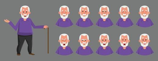alter Mann Charakter mit verschiedenen Emotionen oder Ausdruck. Unterschiedliche Emotionen oder Ausdruckssätze für benutzerdefiniertes Charakter-Design, Bewegung oder Animation.