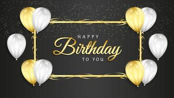Alles Gute zum Geburtstagsfeier auf schwarzem Hintergrund mit realistischen Luftballons 3d und Glitzerkonfetti für Grußkarte, Partybanner, Jahrestag.