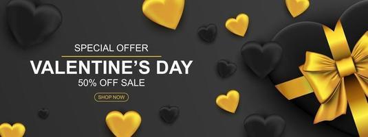 Alla hjärtans dag försäljning webb banner. realistisk presentförpackning med gyllene rosett och hjärta
