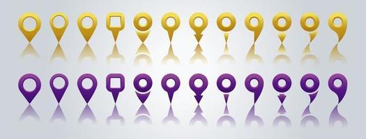 Satz von Positionskartensymbolen mit Schatten. GPS-Standortsymbolsammlung, Karten-Pin-Ortsmarkierung, isoliertes flaches Design. Vektorillustration. vektor