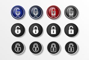 Schlosssymbole setzen realistische geschlossene und geöffnete, flache Sicherheitsdesign-Vektorillustration in 4 Farboptionen für Webdesign und mobile Anwendungen. Vektorillustration. vektor