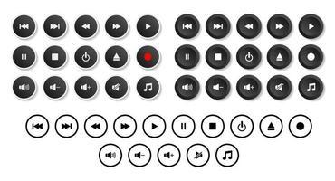 multimedia spelare ikoner set, uppsättning knappar för modern design för webb, internet och mobila applikationer isolerad på vit bakgrund. vektor