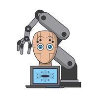 Konzeptkarikatur der künstlichen Intelligenzikonen