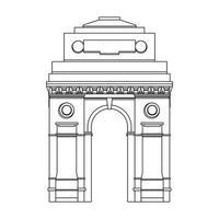 Symbol des indischen Gateway-Emblemgebäudes lokalisiert in Schwarzweiss