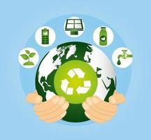 umweltfreundliches Plakat mit Planet Erde und Ikonen