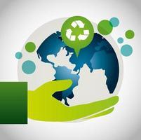miljövänlig affisch med planetjord och återvinningssymbol vektor
