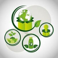 umweltfreundliches Plakat mit Ikonen
