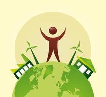 umweltfreundliches Plakat mit Planet Erde und menschlichem Charakter