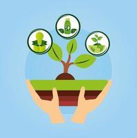 umweltfreundliches Plakat mit Hand, die eine Pflanze anhebt