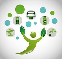 umweltfreundliches Plakat mit menschlicher Figur und Ikonen