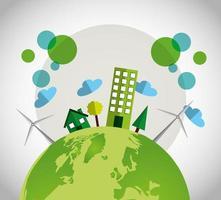umweltfreundliches Plakat mit Stadtgebäuden
