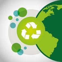 umweltfreundliches Plakat mit Planet Erde und Recycling-Symbol