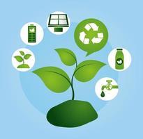 umweltfreundliches Plakat mit Pflanze und Ikonen
