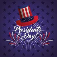 glückliches USA-Präsidententagsfeierplakat mit Zylinder