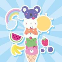 süße kleine Tiere in Eistüten, kawaii Zeichen
