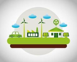 miljövänlig affisch med hus och vindkraft vektor