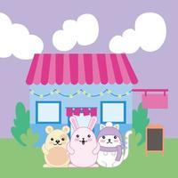 kawaii niedliche kleine Tiere mit Lebensmittelwagen