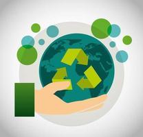 miljövänlig affisch med planetjord och återvinningssymbol
