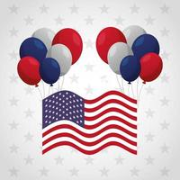 Präsidententagsfeierplakat mit Flagge und Luftballons