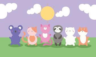 süße kleine Tiere auf dem Feld, kawaii Charaktere