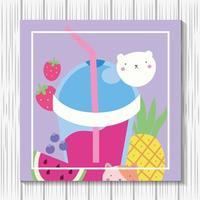 süße kleine Katze mit Fruchtsmoothie, kawaii Charakter