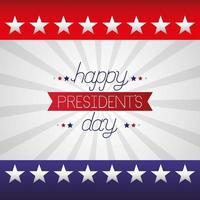 glad presidents dag firande affisch med bokstäver och flagga vektor