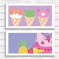 süße kleine Tiere in Eistüten kawaii Zeichensatz