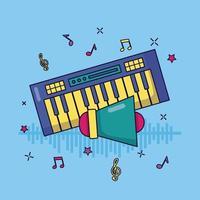 Synthesizer Megaphon Musik bunten Hintergrund