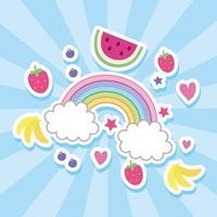 Früchte und Regenbogen kawaii Stil