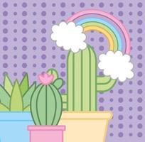 Kaktuspflanzen und Regenbogen-Kawaii-Stil