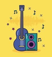 gitarr och högtalarmusik färgstark bakgrund vektor
