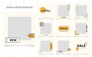 Social Media Vorlage Banner Blog Mode Verkauf Förderung. voll editierbares quadratisches Pfostenrahmen-Puzzle-Bio-Verkaufsplakat. frischer gelber Elementformvektorhintergrund